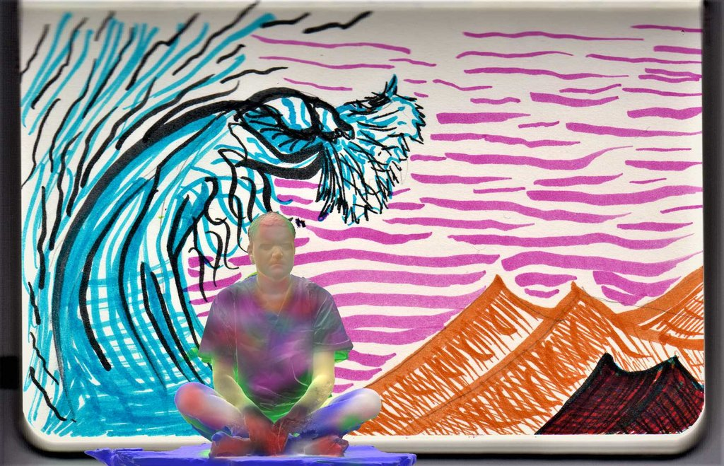Painted 3D scan of Pierre meditating in front of a notebook page depicting a tsunami over a desert
